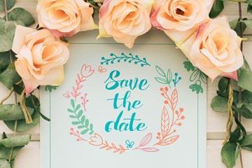逼真玫瑰花装饰婚礼海报矢量图