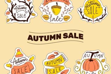 6款彩绘秋季促销贴纸矢量素材