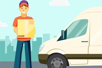 卡通运输车和快递员男子矢量素材