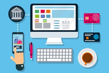 创意网上购物支付流程矢量图