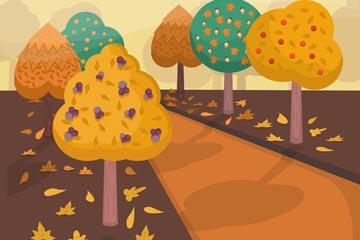 卡通秋季树木道路风景矢量素材