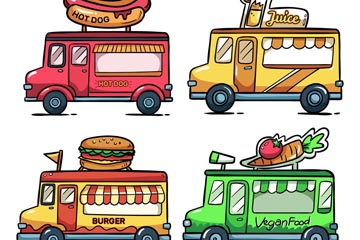 4款手绘移动快餐车设计矢量素材