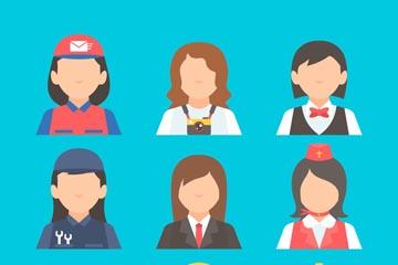 9款创意无表情职业女子头像矢量图