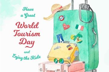 彩绘世界旅游日行李箱矢量图