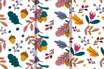 3款彩色秋季落叶无缝背景矢量图