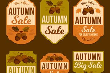 6款复古橡子秋季销售标签矢量图
