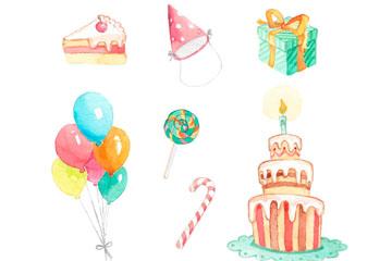 8款彩绘生日派对装饰物矢量图