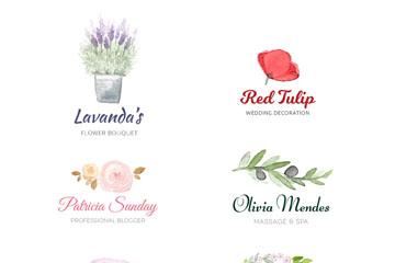 6款彩绘花卉店铺标志矢量素材