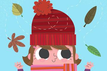 卡通秋季毛线帽女孩矢量素材