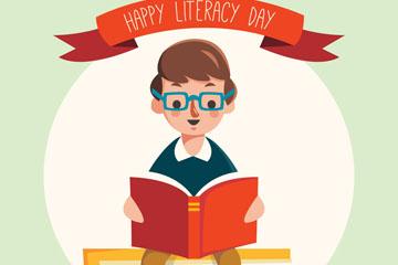 创意国际扫盲日读书的男孩矢量素