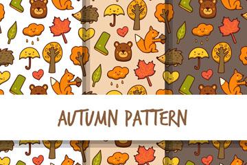 3款可爱秋季动植物无缝背景矢量图