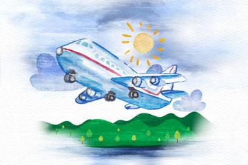 夏季飞机和郊外风景矢量素材