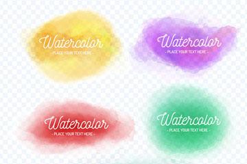 5款水彩墨迹空白标签矢量素材