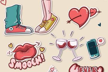 9款彩绘爱情元素贴纸矢量素材