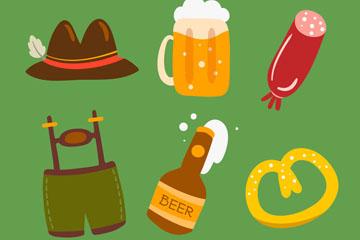 6款彩色啤酒节元素矢量素材