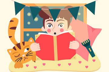 创意国际扫盲日读书女孩和猫矢量
