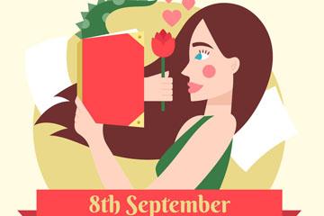 创意国际扫盲日送玫瑰花的书籍和