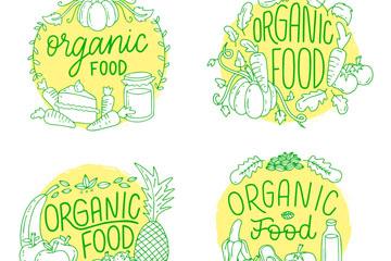 4款手绘有机食物标签矢量素材