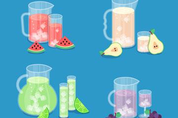 4款夏季加冰块新鲜水果汁矢量图