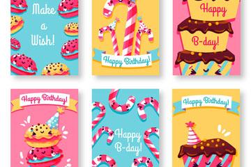 6款可爱表情甜点生日卡片矢量图