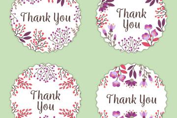 4款彩绘圆形花草感谢标签矢量图