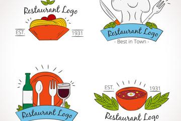 4款彩绘餐厅标志设计矢量素材
