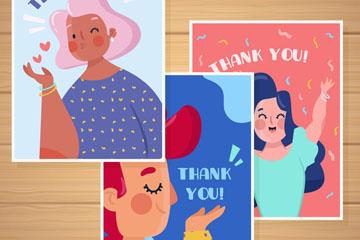3款卡通女子感谢卡片矢量素材