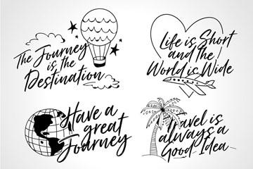 4款手绘旅行隽语矢量素材