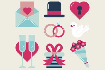 8款扁平化婚礼物品矢量素材