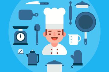 扁平化微笑厨师和12款厨具矢量图