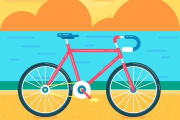 创意海边的单车矢量素材