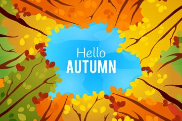 彩绘秋季树林上的天空矢量素材