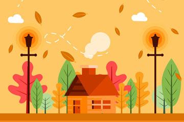 扁平化秋季房屋风景矢量素材