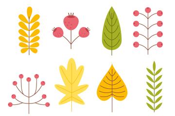 8款扁平化秋季树叶和花卉矢量图