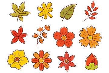16款彩绘叶子和花卉矢量素材
