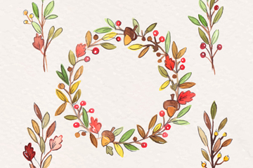 5款彩绘树枝和浆果花环矢量素材