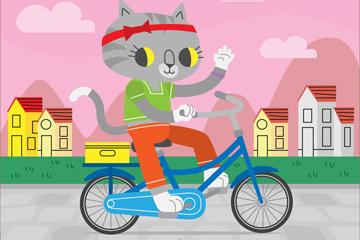 卡通骑单车的猫咪矢量素材