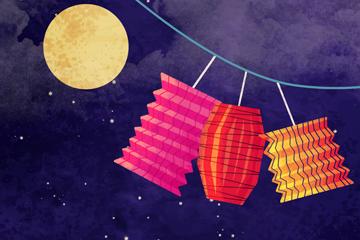 创意中秋节月亮和灯笼矢量素材