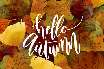 水彩绘秋季落叶设计矢量素材