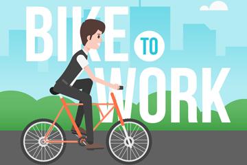 创意骑单车的男子矢量素材