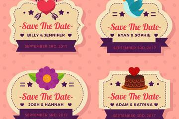 4款创意婚礼标签设计矢量素材