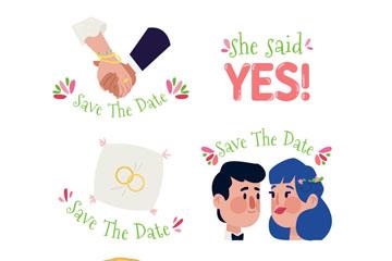 6款手绘婚礼元素标签矢量图