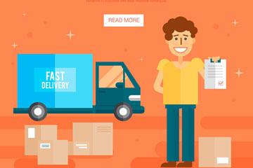 扁平化送货中的快递员矢量素材
