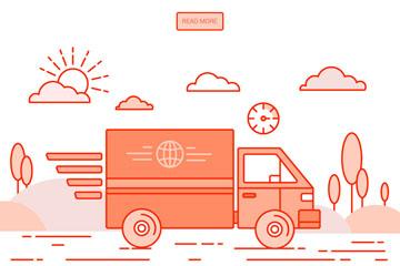 创意送货中的快递车辆矢量素材
