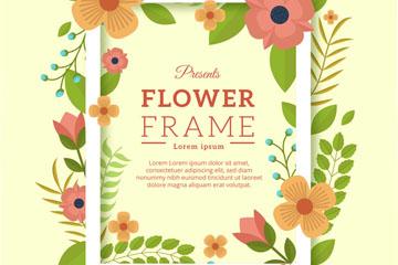 创意花卉装饰框架矢量素材