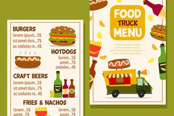 彩色快餐车菜单正反面矢量图