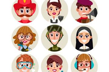 9款卡通职业人物头像矢量图