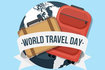 创意世界旅游日地球和行李箱矢量