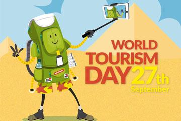 创意世界旅游日自拍的行李包矢量