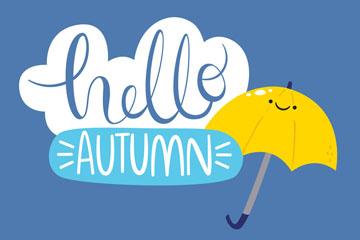 卡通你好秋季雨伞艺术字矢量图